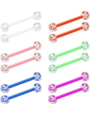 D.Bella 14G Flexible Acrylic Tongue Rings Straight Nipple Piercing Retainer Women Clear Nipplerings Barbell 12mm 14mm 16mm 19mm