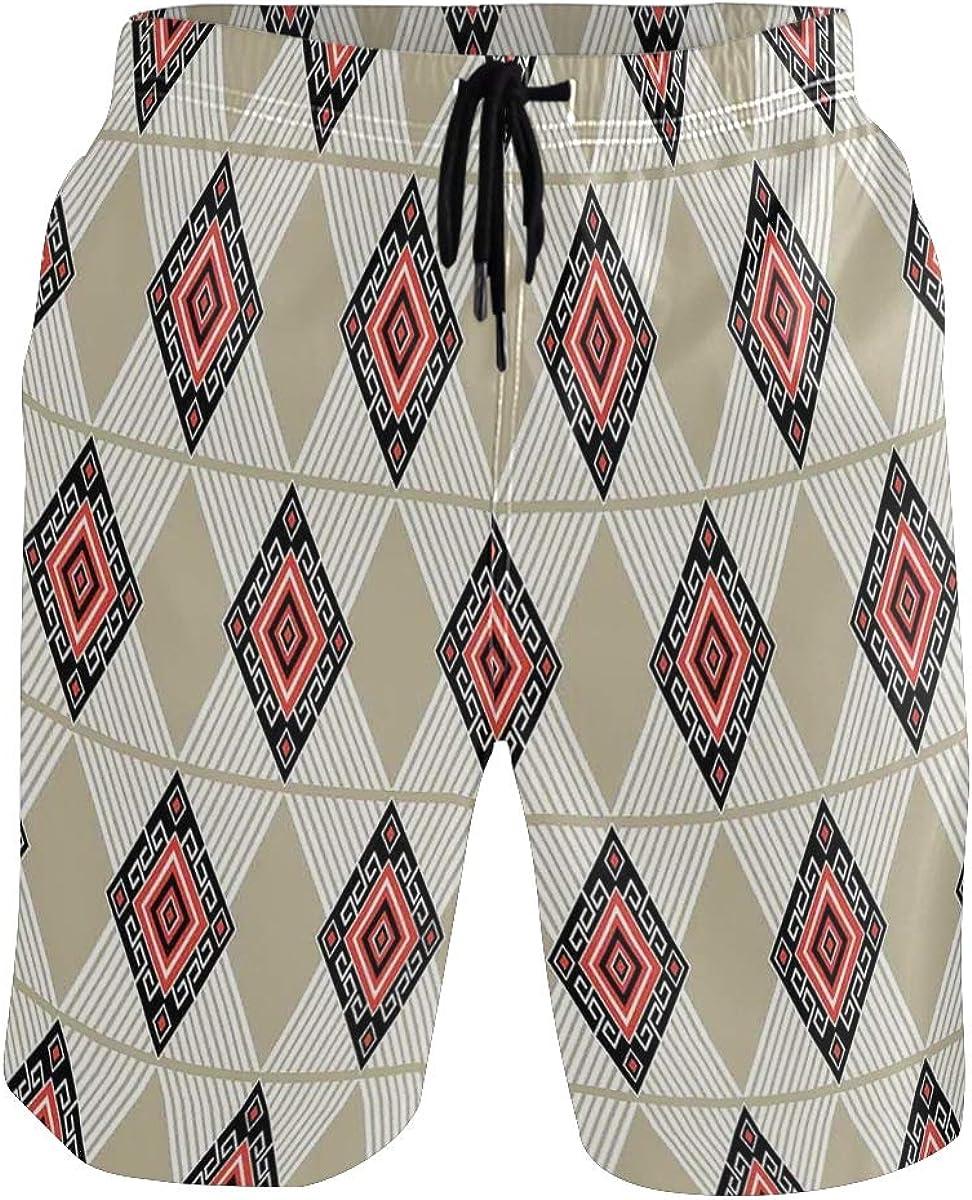 COVASA Mens Summer ShortsEthnic Pattern in Regular Symmetrical Design with Lin