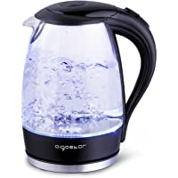 Aigostar Glass Water Kettle - with LED Lighting, 2200 Watts, 1.7 Liter, Boil-Dry Protection, BPA Free. Exclusively Design.