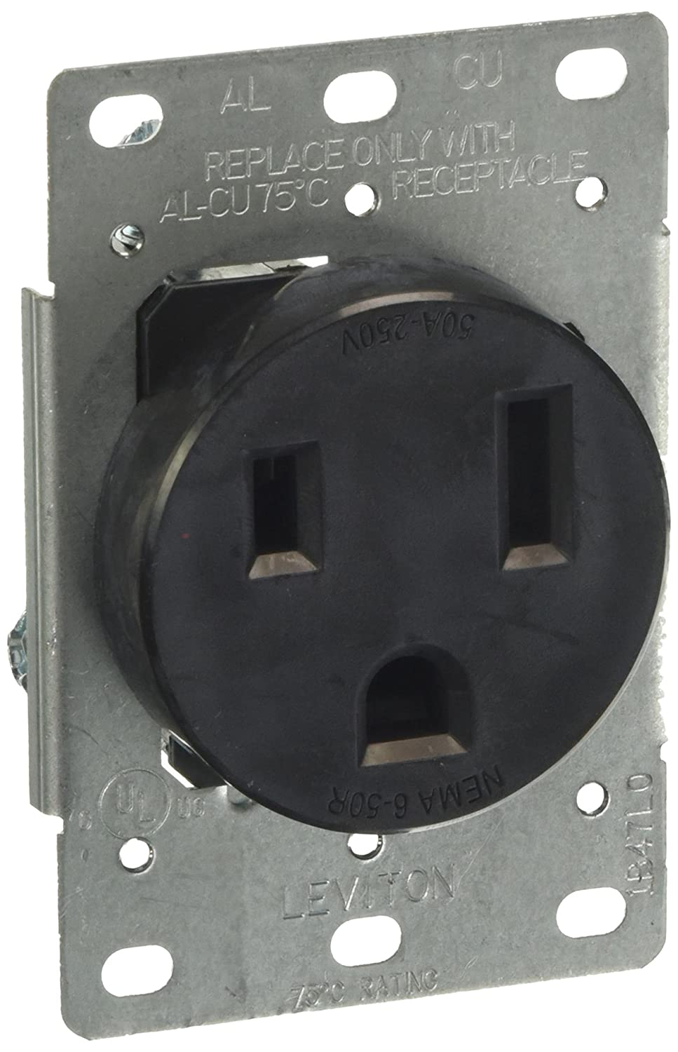 Leviton 5374-S00 50 Amp, 250 Volt, Flush Mounting Receptacle, Straight Blade, Industrial Grade, Grounding, Black, pack of 1,