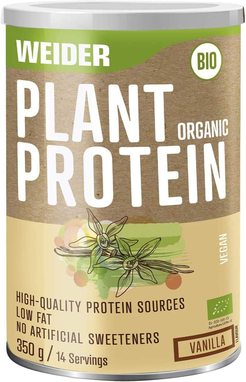 Weider Plant Organic Protein Vainilla 350 gr, Bio, sin edulcorantes artificiales, 100% natural, No GMO