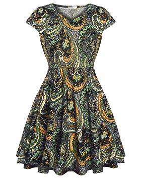 Vestido Del Estampado Floral Estilo Vintage Para Fiesta De Coctel Fiesta De Noche Cuello V Sin