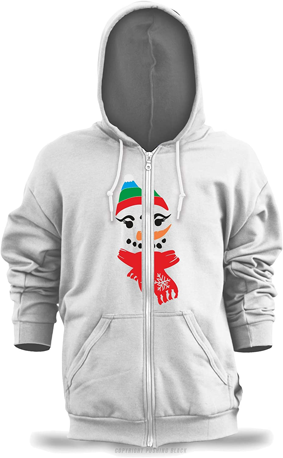 Smiling Snowman with Hat and Scarf Unisex Zipper Hoodie