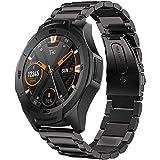 VICARA Compatible Ticwatch S2 /E2/Pro/Fossil gen 4 Q EXPLORIST HR/Fossil Q Marshal Gen 2 バンド ステンレス 22mm 耐久性 錆びにくい スチール オシャレ 金属製 高級腕時計 ステンレス製ベルト ビジネス 替えベルト調整工具が付き(ブラック)
