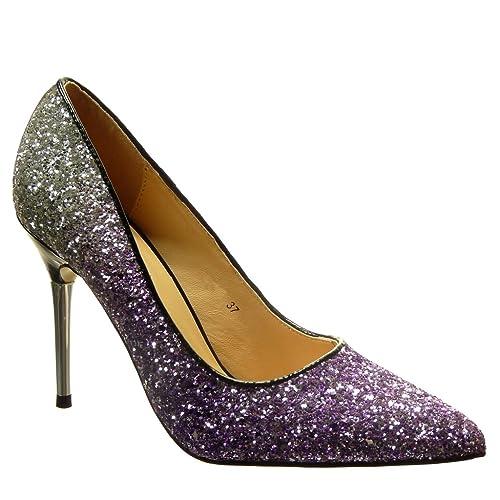 d42040a6dd10d6 Angkorly - Chaussure Mode Escarpin Stiletto Sexy soirée Femme Pailettes  Talon Haut Aiguille 10 CM -