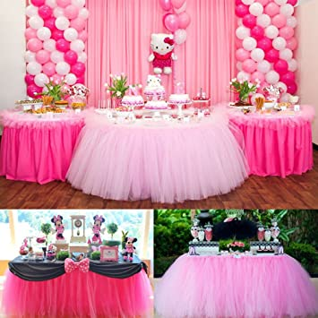 CYNDIE Hot Sale New Customized 100cm Tutu Tableware Tulle Table Skirt Party Wedding  Decorations Best Price