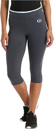 Ultrasport Advanced fitnessbroek voor dames, sportbroek, capribroek, zeer elastisch, huidvriendelijk weefsel, ademend en sneldrogend, met verstelbare tailleband in contrasterende kleur
