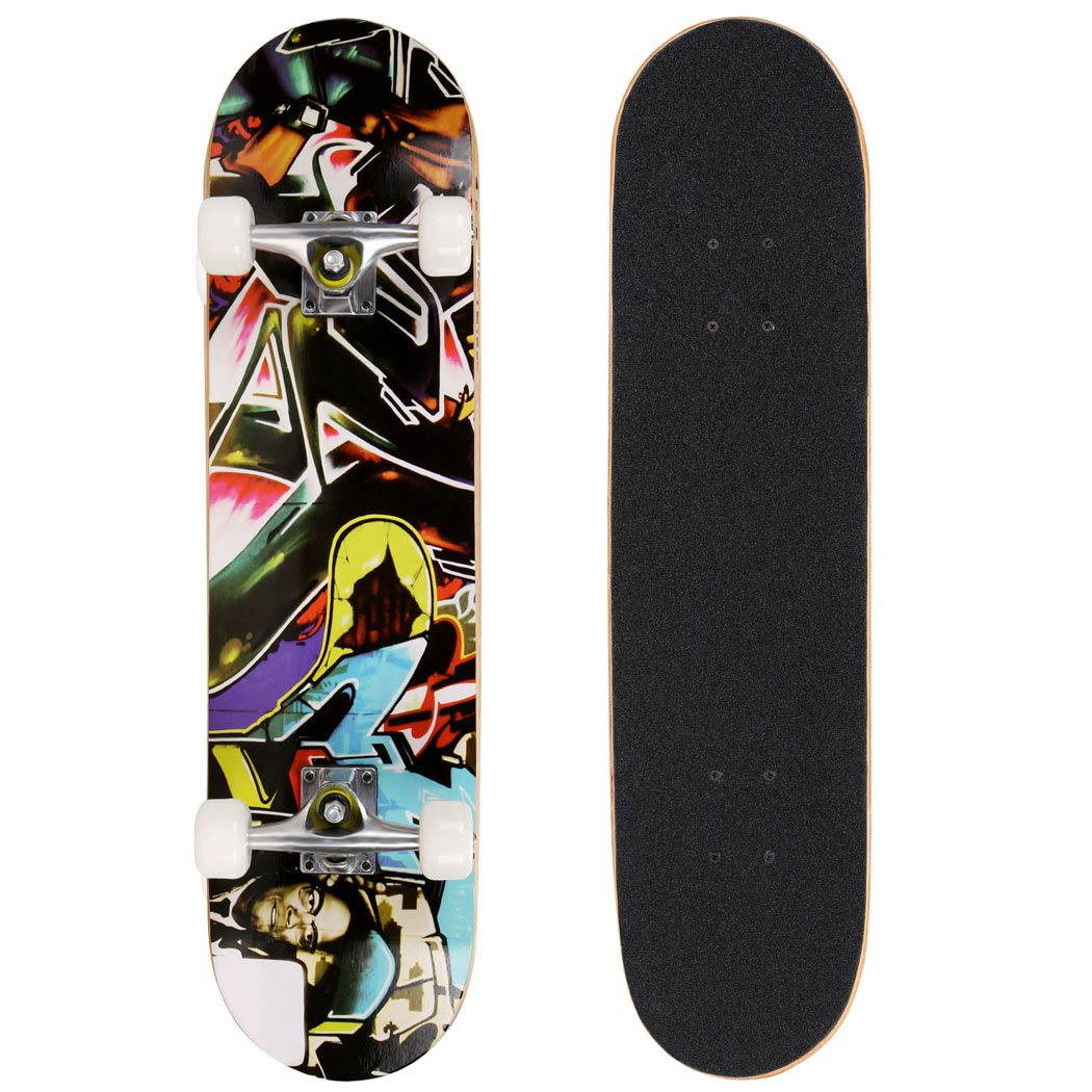 Pro Skateboard - 31'' X 8'' Complete Skateboard, 9 Layer Maple Wood Skateboard Deck with Double Kick Concave Design for Kids Boys Youths Beginners