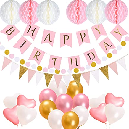 Birthday Party Decorations Supplies, Acelife Happy Birthday 13 Letters Banner Flags, 17 Balloons,15 Triangle Bunting Flags, 6 Tissue Paper Pompom Balls, 400cm String Polka Dot Garland for Girls