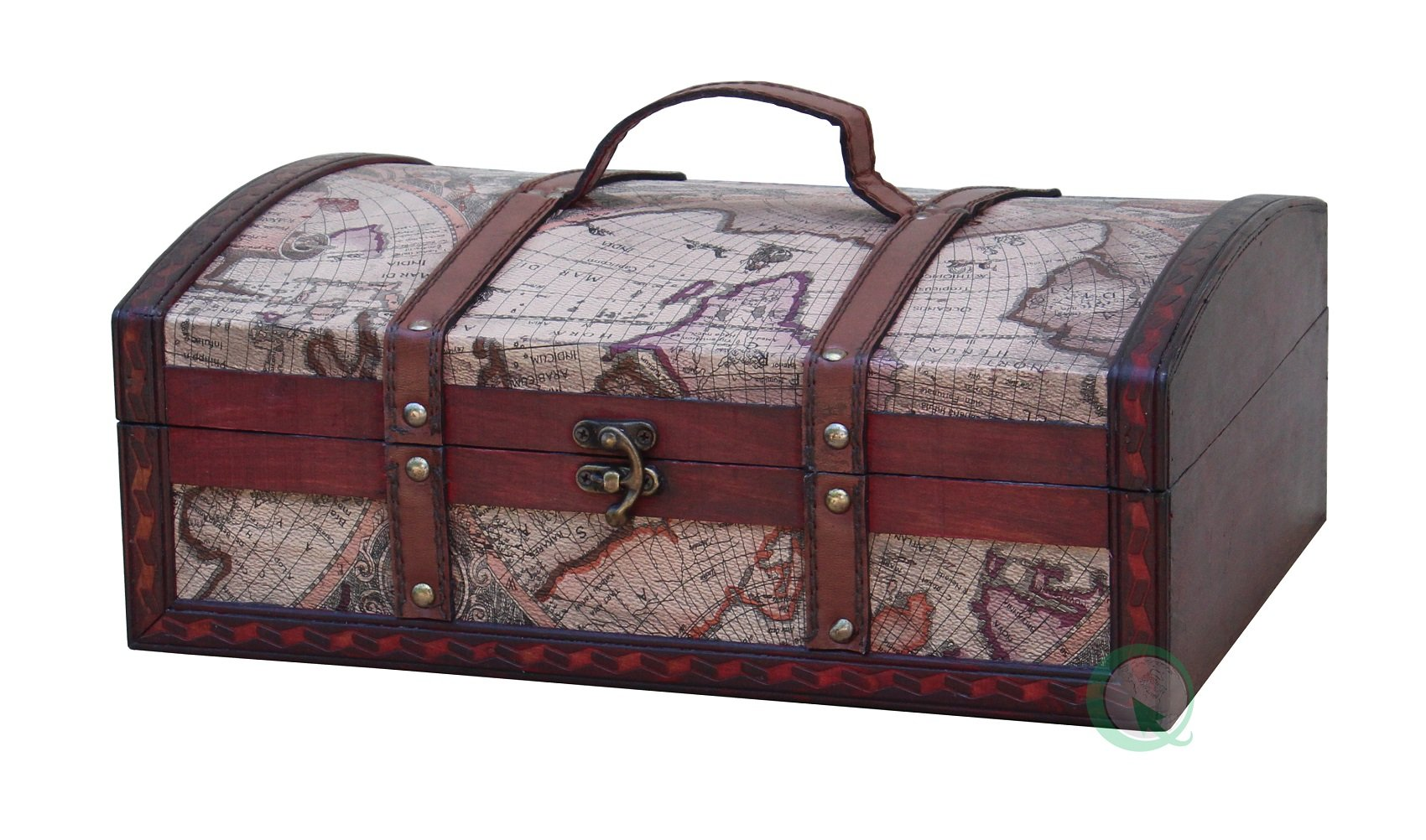 Old World Map Treasure Chest - 14 Inch.