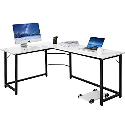 Modern Luxe L Shaped Desk Corner Computer PC Table Workstation Home Office  Desk (White
