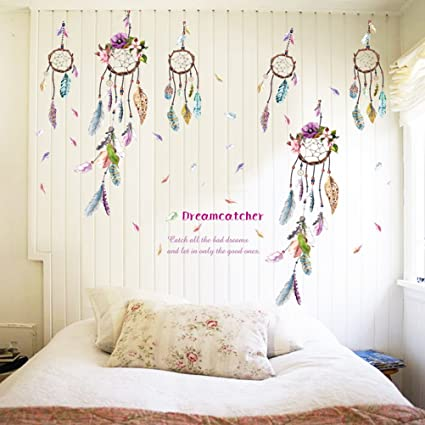 TUANTUAN 1 Sheet Dream Catcher Feathers Wall Sticker Mural Art Removable Decals For Classroom Offices Kids