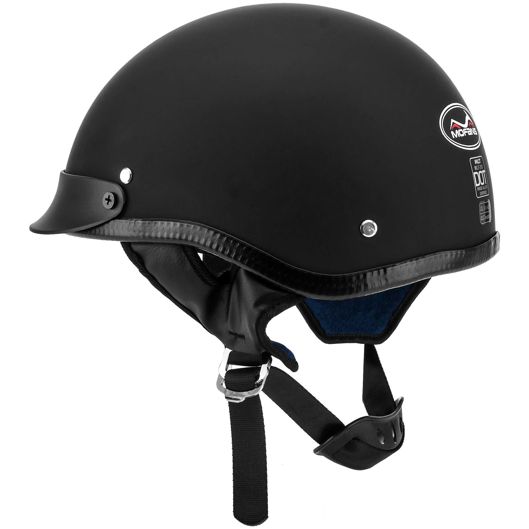 Vintage Half Motorcycle Helmet Fit for Bike Cruiser Scooter DOT Approved L by MotorFansClub