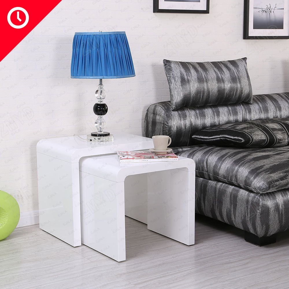 Schindora 2 in 1High Gloss Nesting Tables White Coffee Table and ...