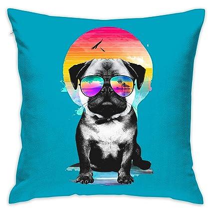 Amazon.com: Create Magic - Summer Pug Throw Pillow Covers ...