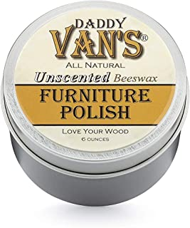 product image for Daddy Van's All Natural Unscented Beeswax Furniture Polish Chemical Free Non-Toxic Wood Wax Preservative, Conditioner and Protectant - One Tin