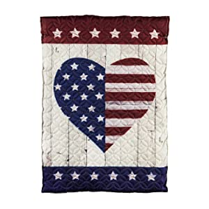 Evergreen Flag Beautiful Stars and Stripes Heart Quilted Garden Flag - 13 x 1 x 18 Inches Fade and Weather Resistant Outdoor Decoration For Homes, Yards and Gardens