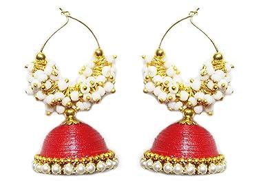 c6ada6690 Buy Yathnics Jhumka - Quilling Earrings Set - Ethnic jewelry - Red ...