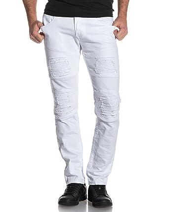 92a8d2de54f2 BLZ Jeans - Jean Blanc Homme Destroy - Couleur  Blanc - Taille  FR46 US38