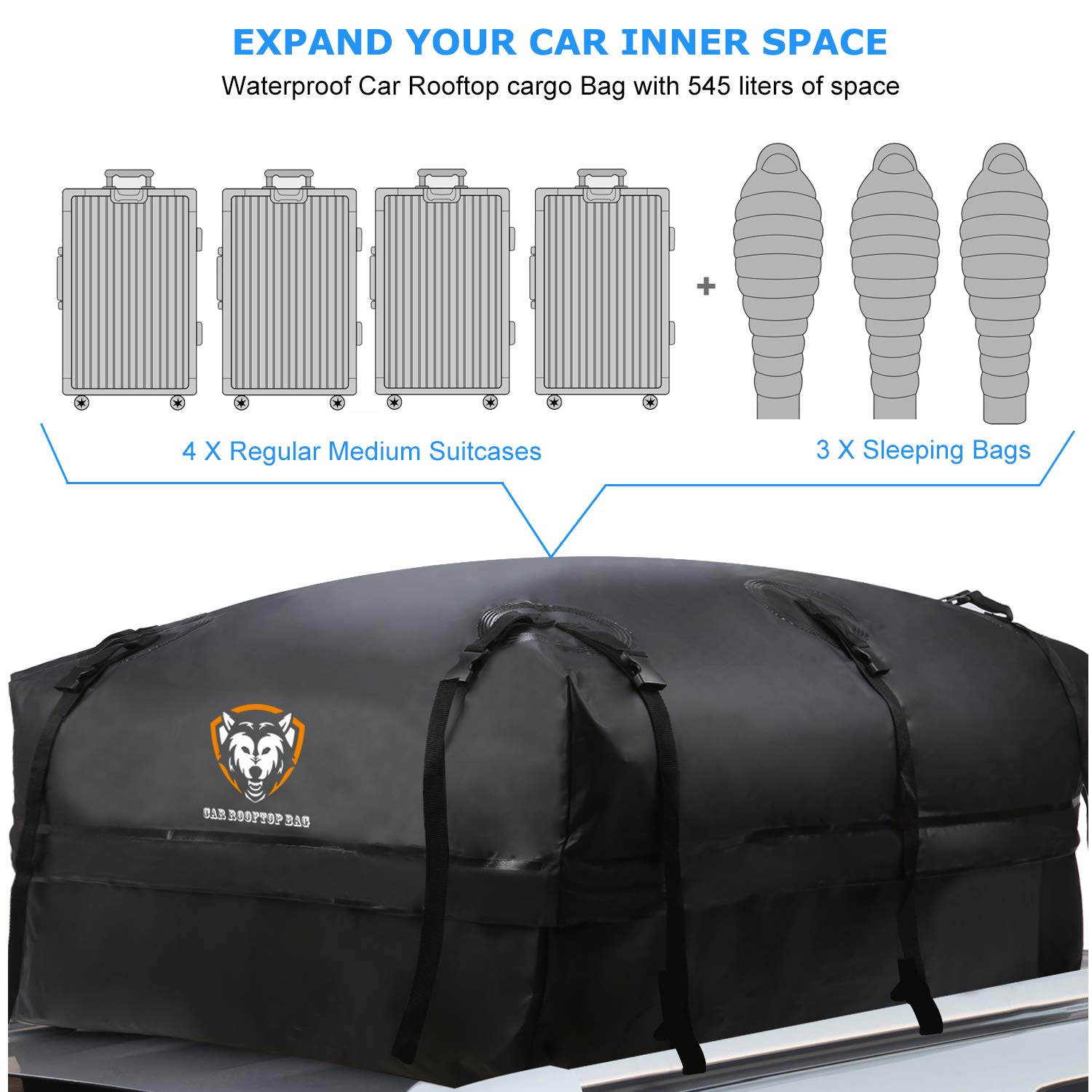 Waterproof Rooftop Cargo Carrier 10 Reinforced Straps Van With//Without Rack SUV Truck Heavy Duty Roof Top Luggage Storage Bag with Anti-slip Mat 19 Cubic Feet Perfect for Car 6 Door Hooks