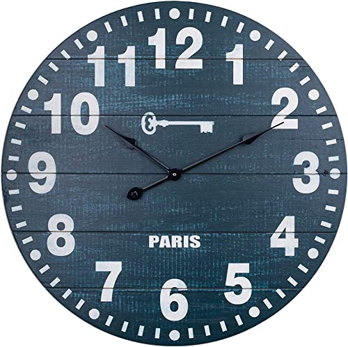 Farmhouse Wall Clock, Wooden Country Decorative Clcok with Large Arabic Numerals, Indoor Silent Non-Ticking Battery Operated Clock for Living, Dining, Bedroom, Kitchen Den – 24 Inch, Dark Blue
