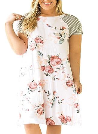 036621db11 Nemidor Women's Floral Print Casual Sleeved A-line Loose Plus Size T-Shirt  Dress
