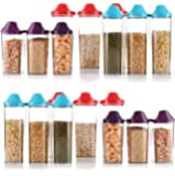 KITCH-MAX Storage Container for Kitchen 1700ml 4 pic + 1100 ml 4 pic + 750 ml 4 pic Cereal Dispenser Easy Flow Storage Jar Storage Box Lid Food Rice Pasta Pulses Set of 12