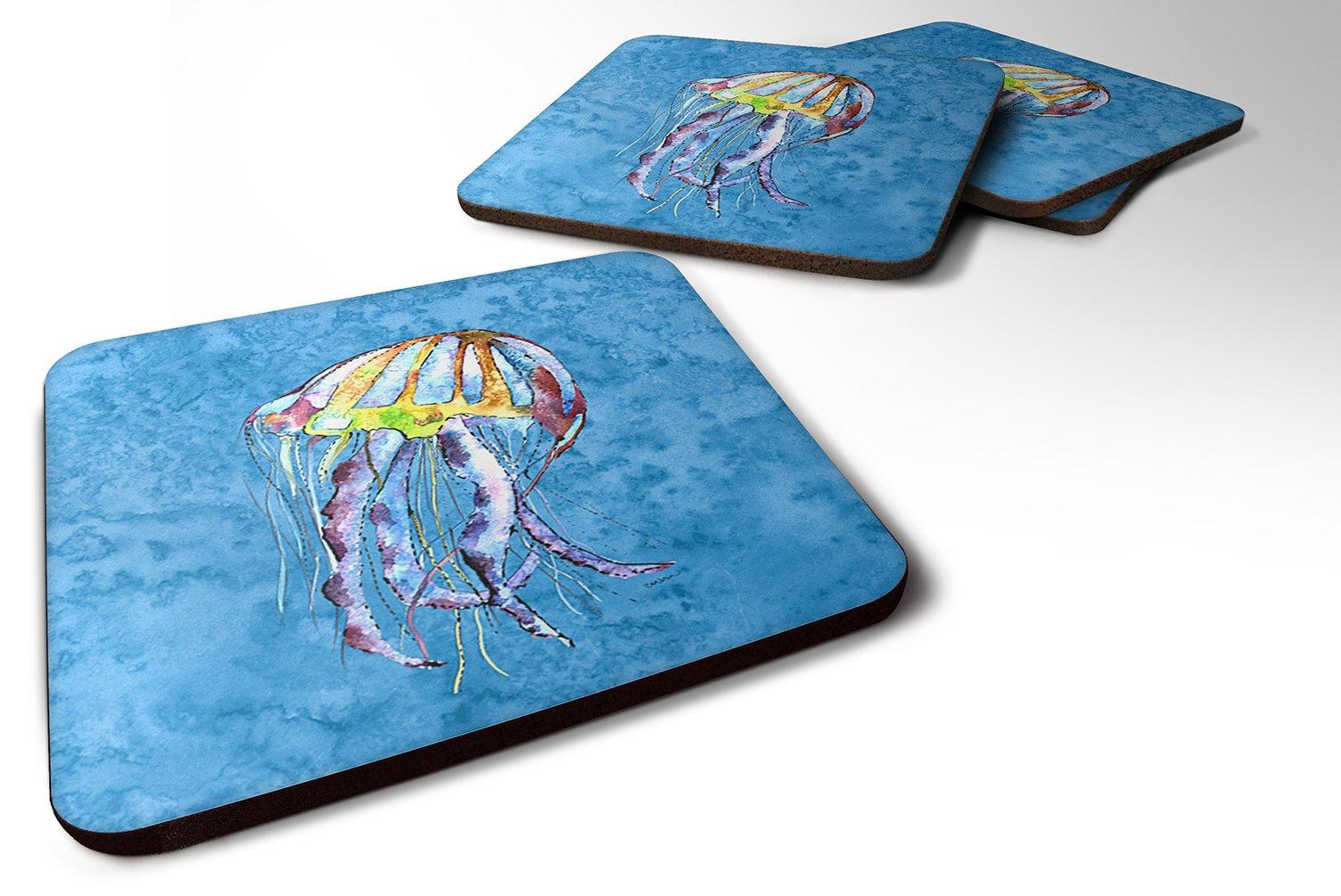 3.5 H x 3.5 W Multicolor Set of 4 Carolines Treasures BB1091-BL-BN-FC Jellyfish Burlap and Brown Foam Coasters