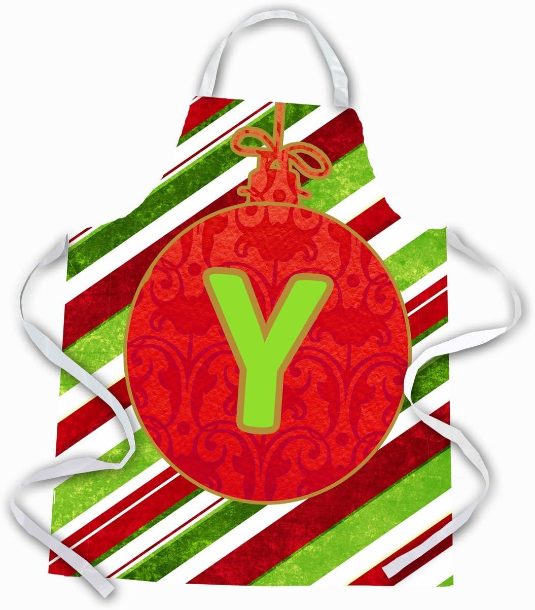 Large Carolines Treasures CJ1039-YAPRON Christmas Oranment Holiday Initial Letter Y Apron Multicolor