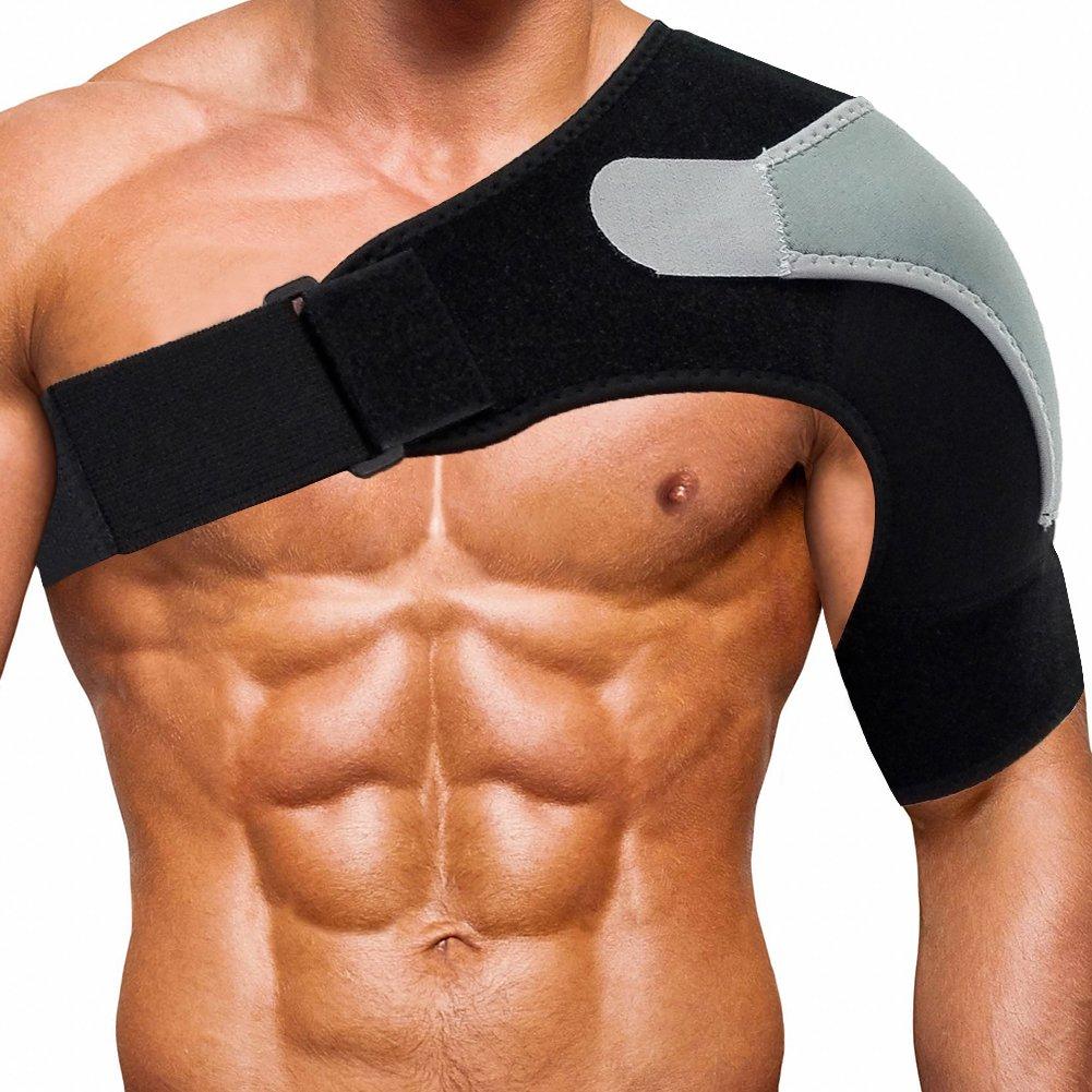 Shoulder Stability Brace Adjustable Shoulder Brace Support with Pressure Pad, Light Breathable Neoprene Rotator Cuff Shoulder Support for Sport, Dislocated AC Joint, Labrum Tear, Shoulder Pain - Left