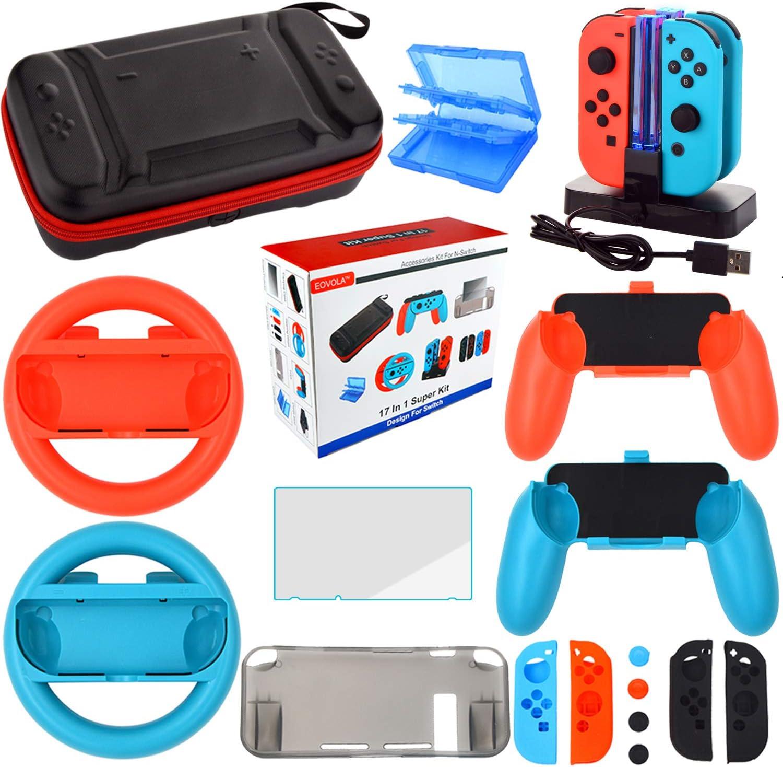 Kit Accesorios para Nintendo Switch - Funda Protector de Pantalla para Switch Consola - Estuche De Juegos - Funda de Silicona Grips Wheel Caps Cargador para Nintendo Switch Joy-Con Mandos (17 in 1)