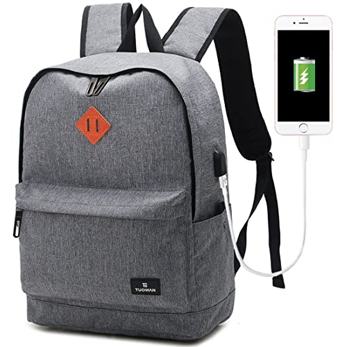 School College Backpack Bookbag Laptop Rucksack Travel Bag Casual Daypack with USB Charging Port Fits 15 Inch Laptop (Grey)