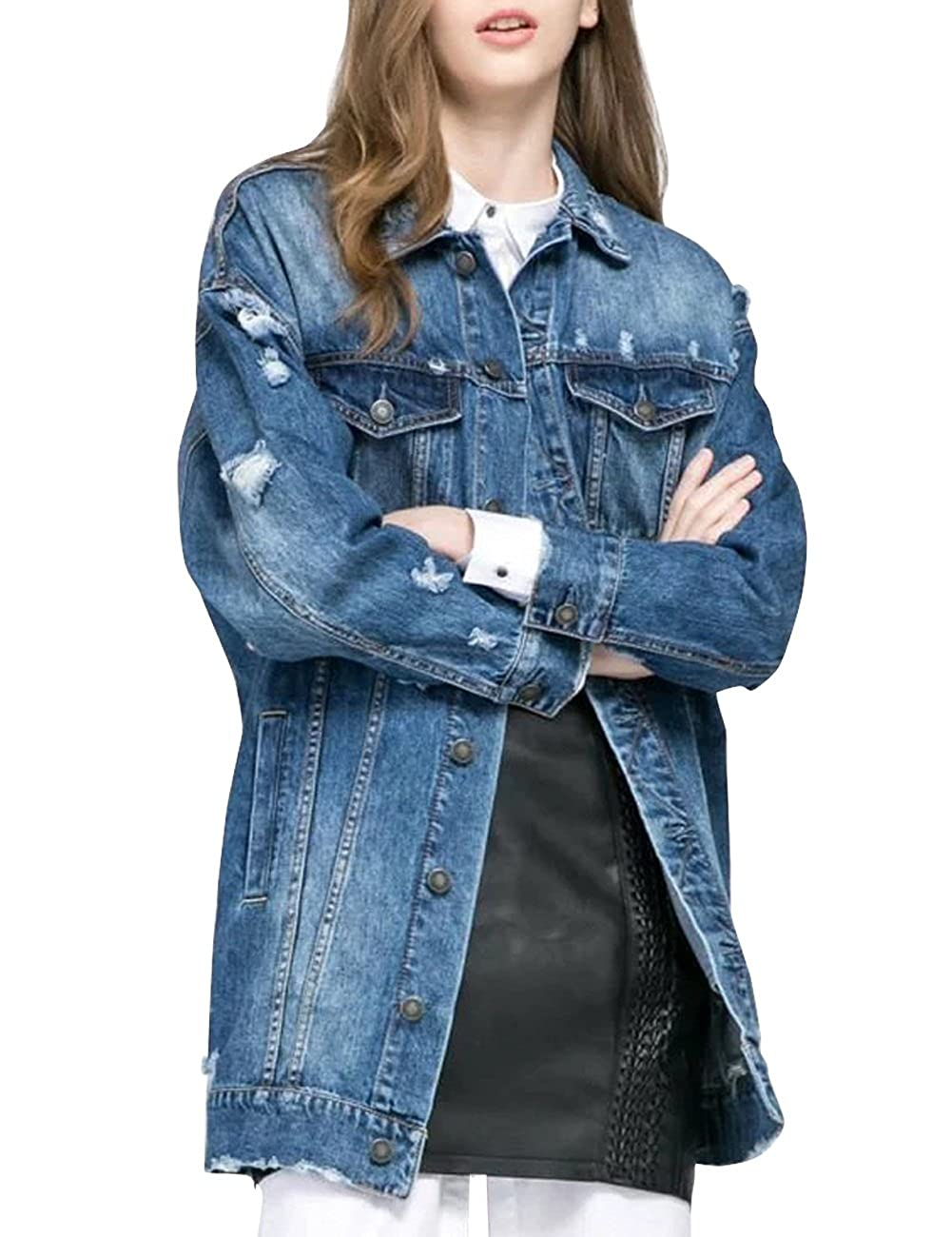Dasior Women's Loose Fit Long Jean Jacket Ripped Broken Denim Coat