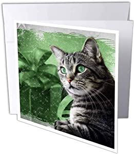 Sweet Silver Tabby Cat, green and silver for Christmas - Greeting Cards, 6 x 6 inches, set of 12 (gc_172994_2)