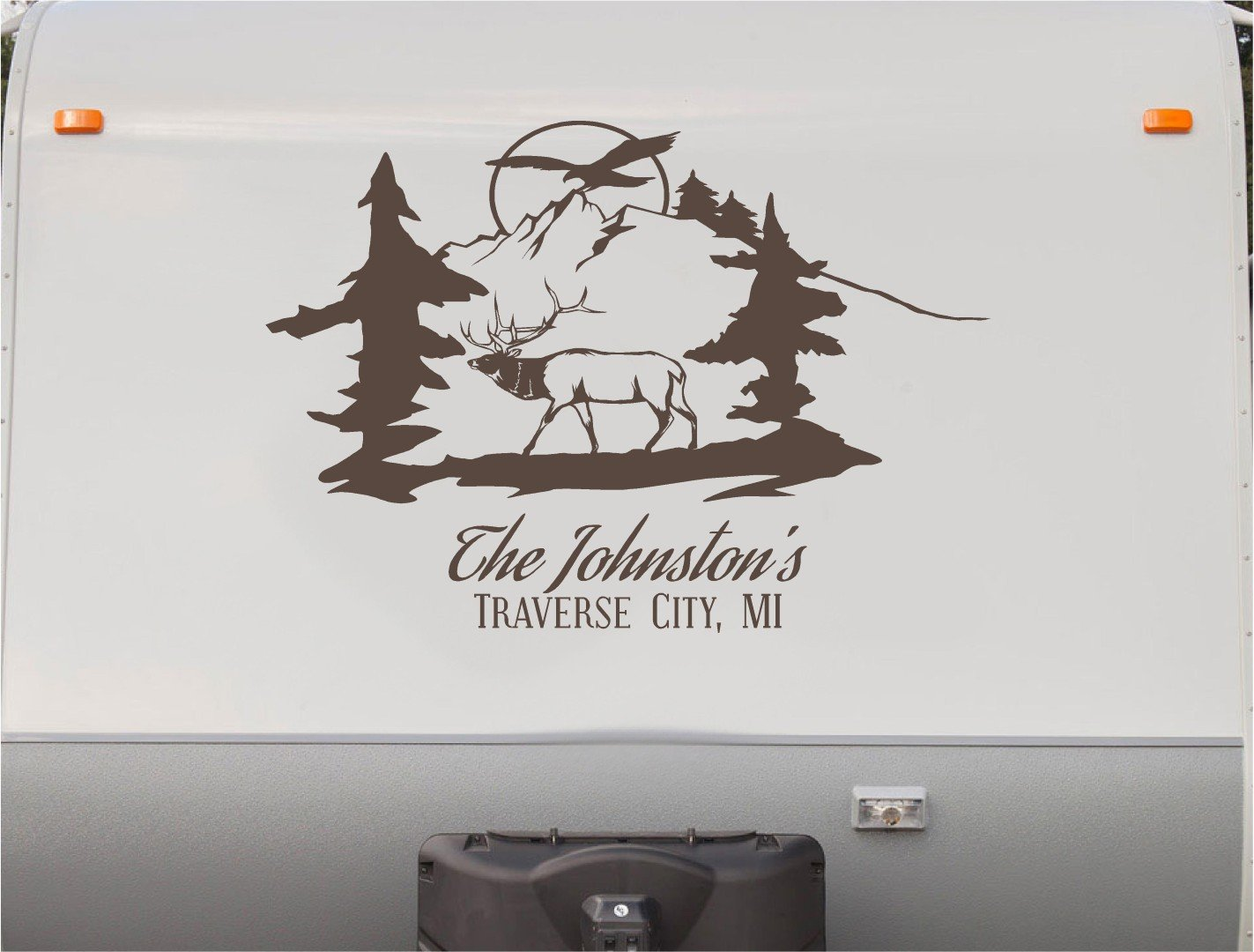 Amazon com elk buck hunting custom name rv camper trailer camping decal sticker graphic mural automotive