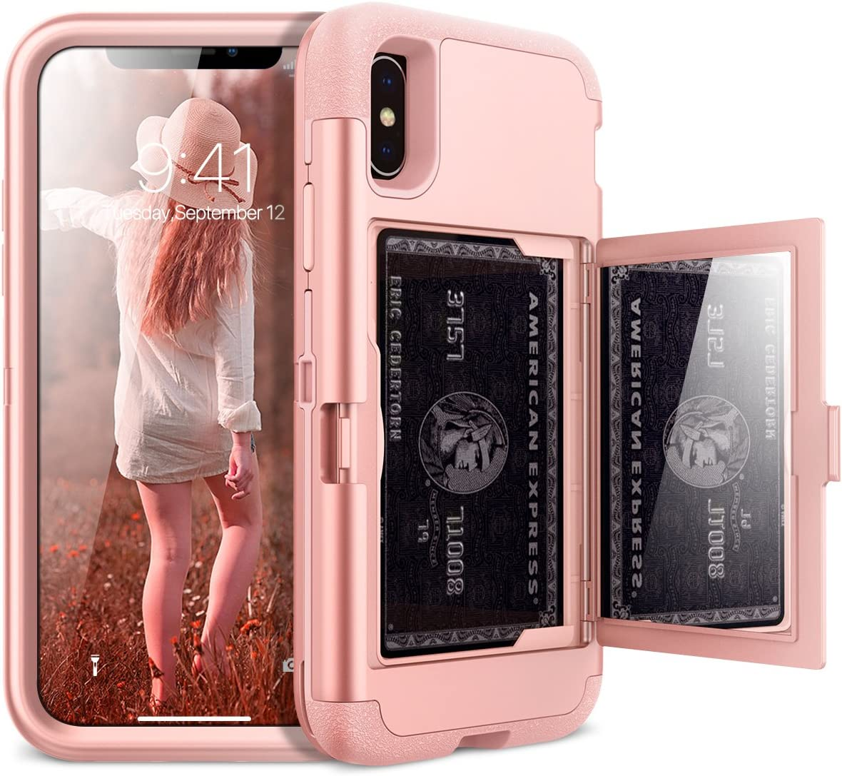 iPhone X Wallet Case - WeLoveCase iPhone Xs Case Defender Wallet Design with Card Holder Hidden Mirror 3 in 1 Heavy Duty Shockproof Armor Full-Body Protective Case for iPhone X, iPhone Xs- Rose Gold