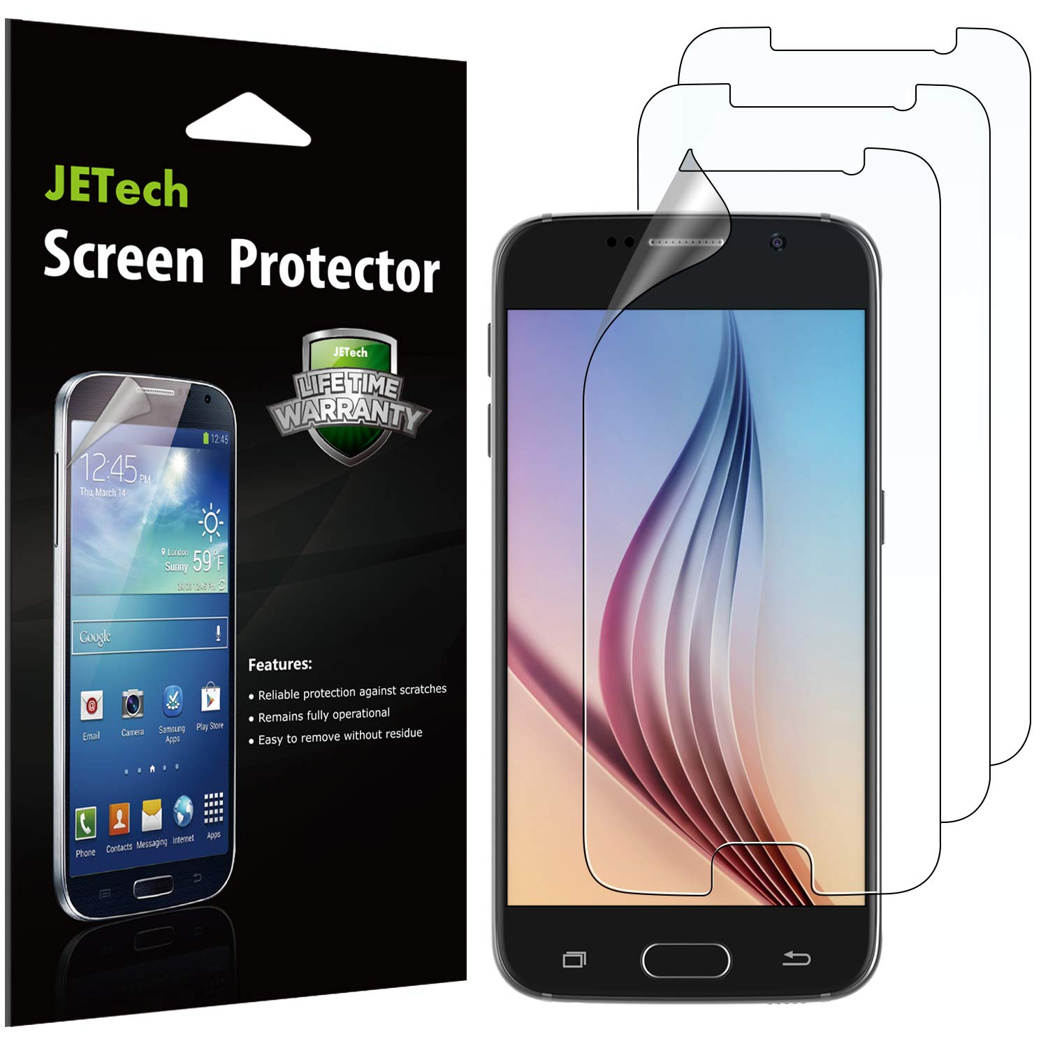JETech Screen Protector for Samsung Galaxy S6, PET Film, 3-Pack