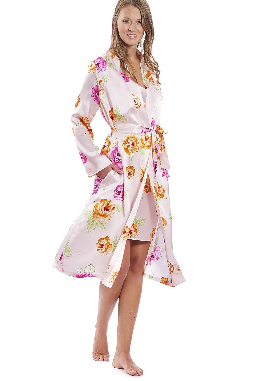 Jadee Damen Morgenmantel Hausmantel aus reinem Seidensatin Farbe Pink Roses