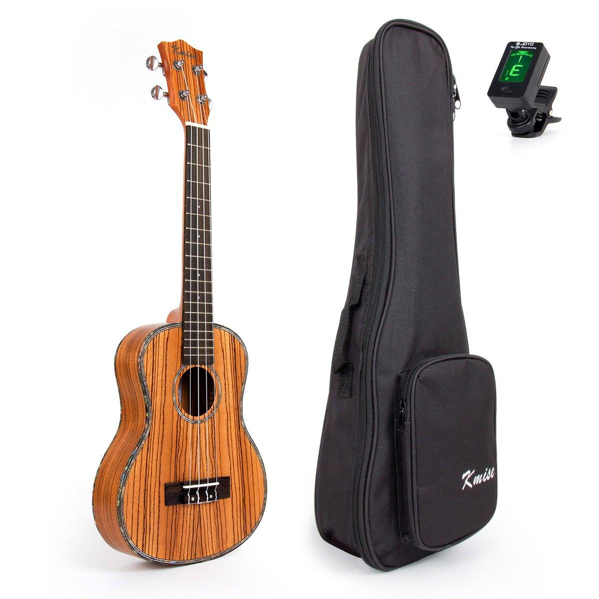 Kmise Travel Ukulele Tenor Thin Body 26 inch Zebra Ukelele Uke Kit with Bag Tuner Hawaii Guitar 18 Fret Ltd
