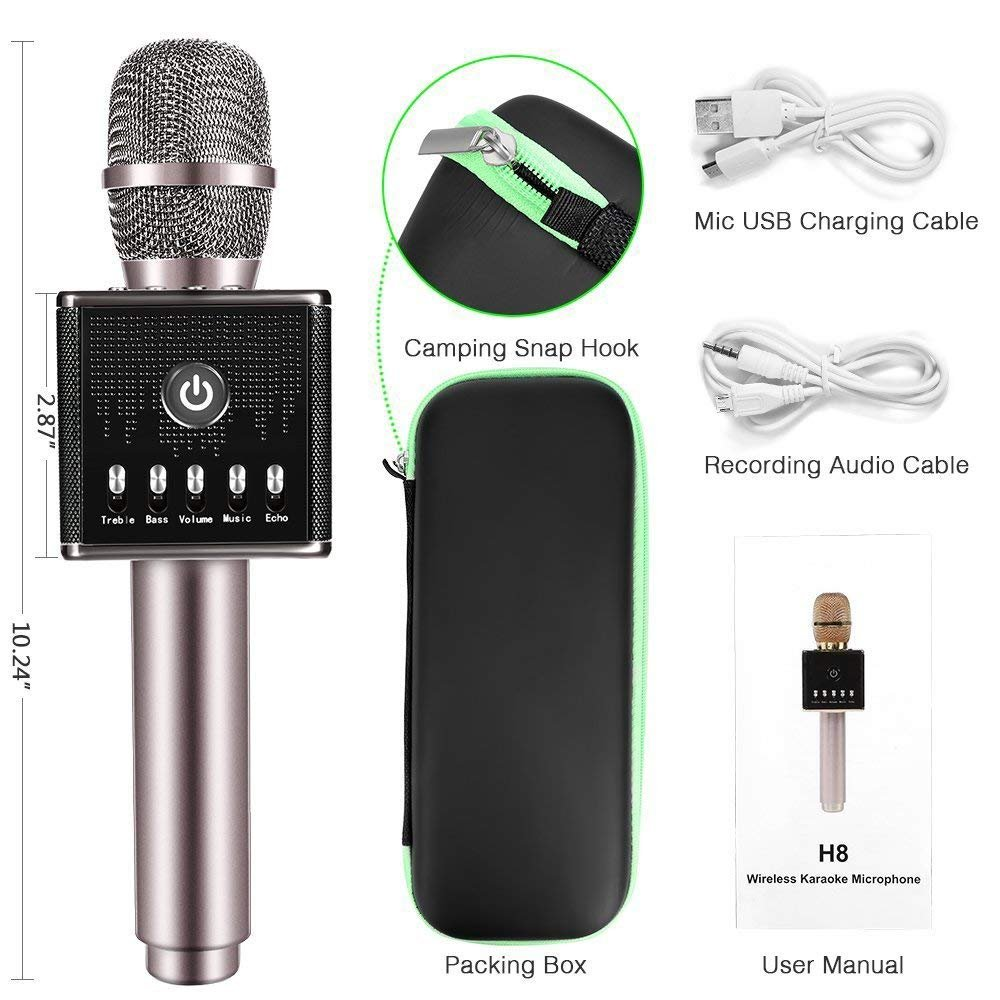 Portable Wireless Bluetooth Karaoke Microphone with LED lights, Built-in HIFI Dual-Speaker 10W and 2600mAH battery capacity, Handheld karaoke Mic Speaker Machine for Home KTV Birthday Party by FOCULED (Image #7)