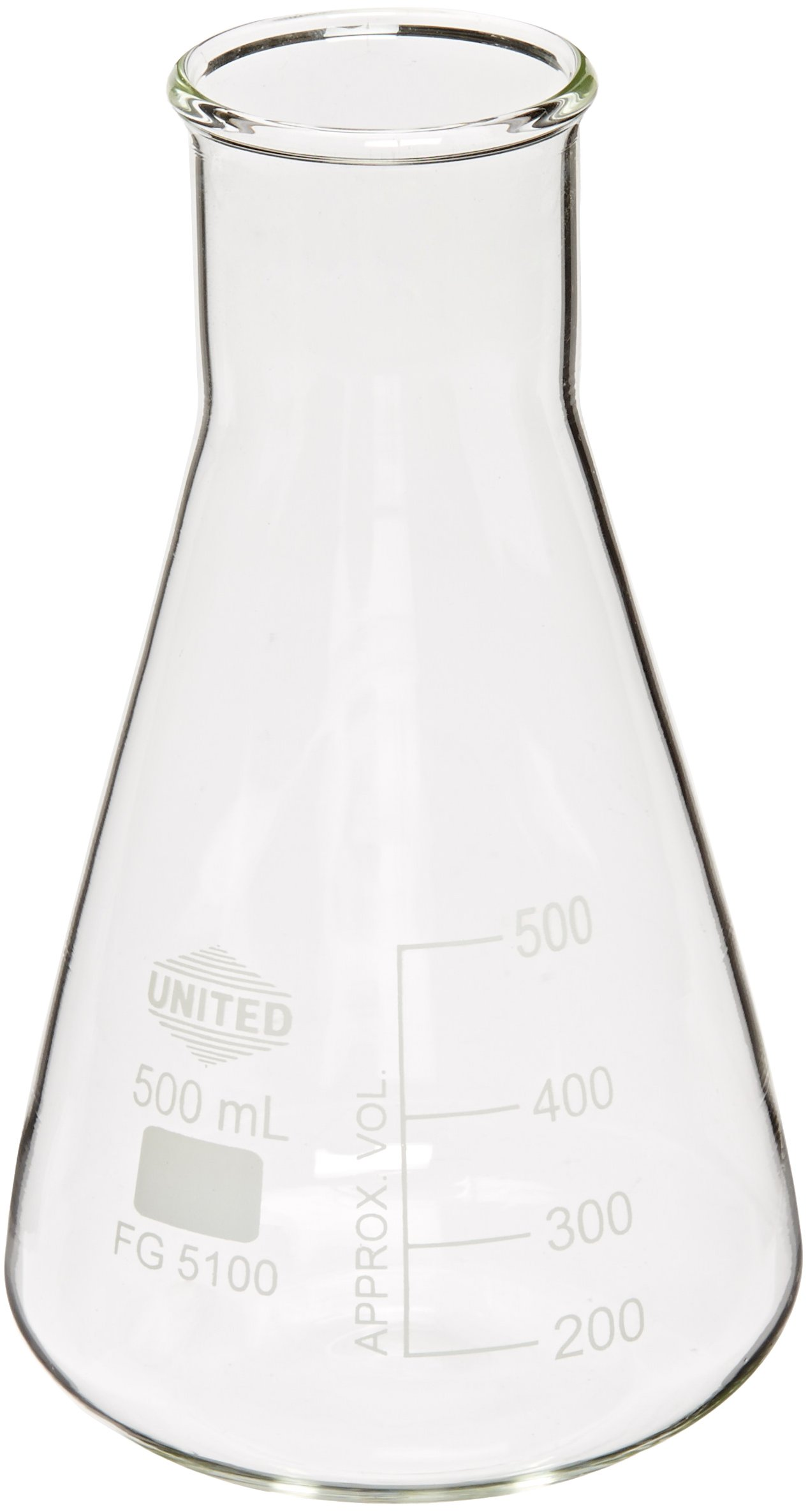 United Scientific FG5100-500 Borosilicate Glass Wide Mouth Erlenmeyer Flask, 500ml Capacity (Pack of 6)