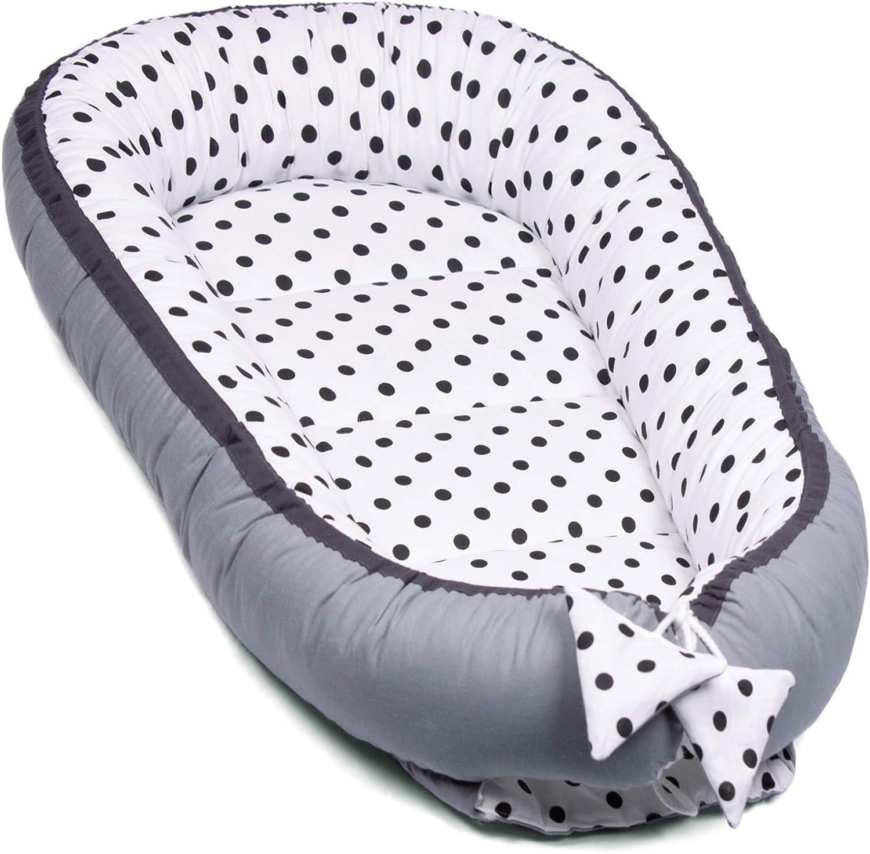 PALULLI nido de 95 x 55 cm, coj/ín de lactancia, colch/ón para beb/és, manta, coj/ín plano, coj/ín cervical, suave como el acurrucar Coj/ín de lactancia Minky de lunares. Set de 6 piezas para beb/é