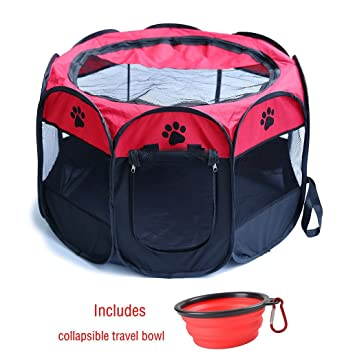 ZuHucpts Portable Dog Pet Playpen/Foldable Puppy Cat Exercise Pen/Soft  Kennel Crate Cage