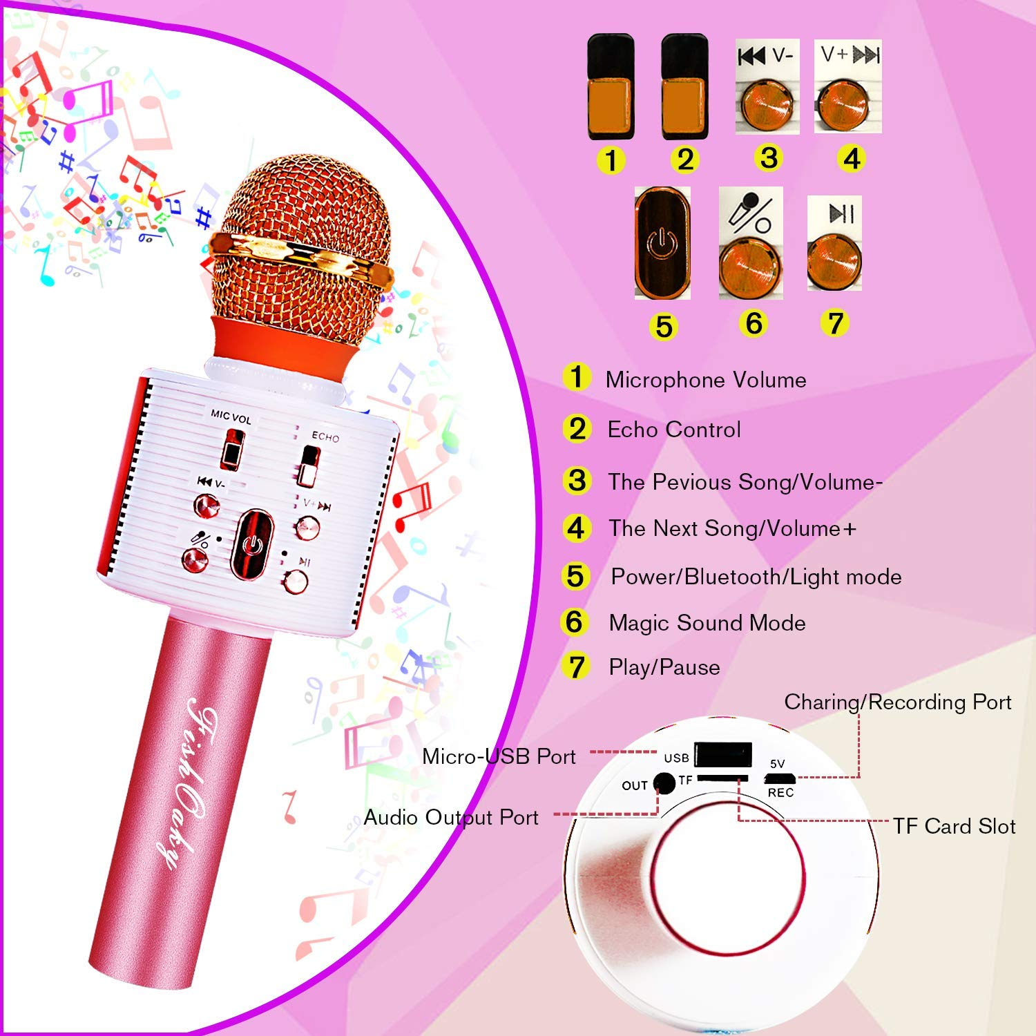 FishOaky Wireless Bluetooth Karaoke Microphone, Portable Kids Microphone Karaoke Player Speaker with LED & Music Singing Voice Recording for Home KTV Kids Outdoor Birthday Party (Rose Gold) by FishOaky (Image #2)