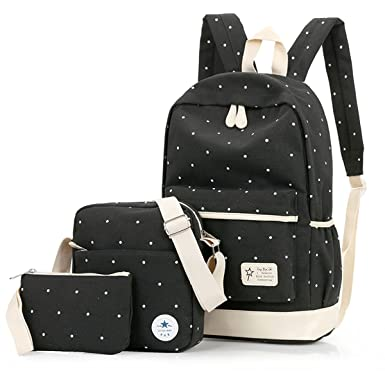 9c877d249f Teen Girls Back Pack Bag Shoulder Bag - Lightweight Canvans Cute 3 PCS Set  with School