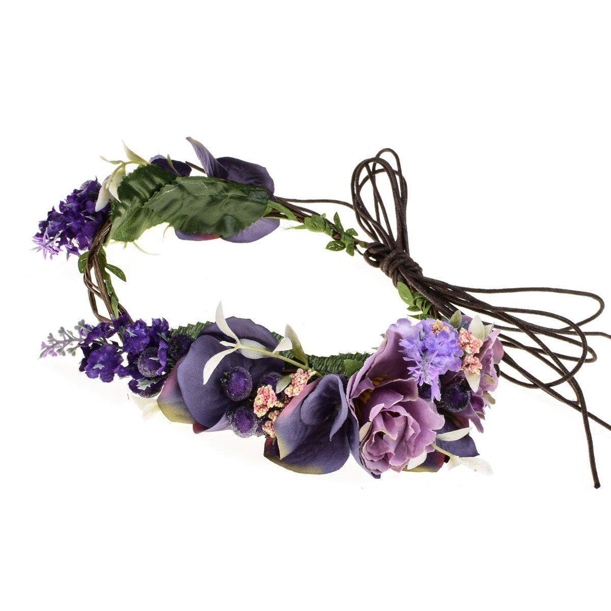 Floral Fall Adjustable Bridal Flower Garland Headband Flower Crown Hair Wreath Halo F-83 (Lavender)