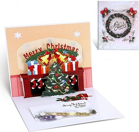 Decorazioni Natalizie Per Biglietti Di Auguri.Cartoline Di Natale 3d Creativi Biglietti Di Auguri 3d Pop Up Regalo Per Natale Capodanno Compleanno Amazon It Casa E Cucina