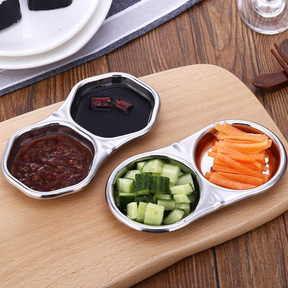 1 St/ück rund f/ür Chili-Sauce Vorspeisen Besonzon 1 x Edelstahl-Saucen-Sch/üssel mit zwei F/ächern zum Gew/ürzen