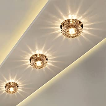 Redonda Plafón LED Lámpara de Techo Pantallas de lámparas cristal 5W aplique de pared Iluminación Romántica Focos de Techo Instalación externa Lámpara Balcón Corredor Escalera, Ø10cm, Luz cálida: Amazon.es: Iluminación
