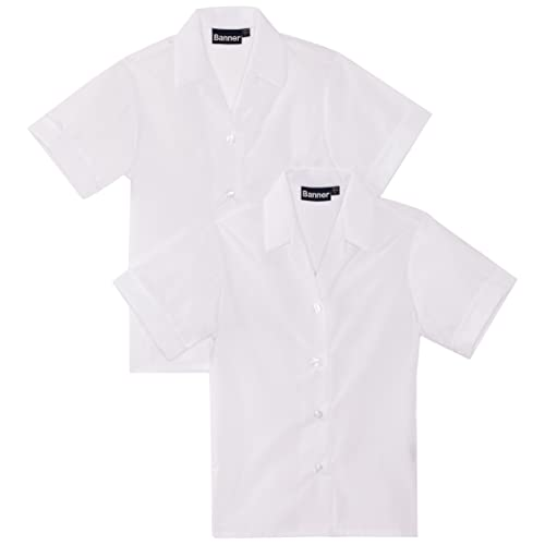 Twin Pack Short Sleeve Revere Collar School Blouses white or blue 22-46in Chest
